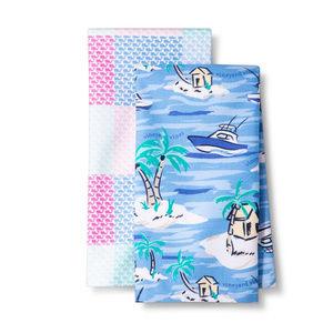 Kitchen Towels - Whales and Island Scene
